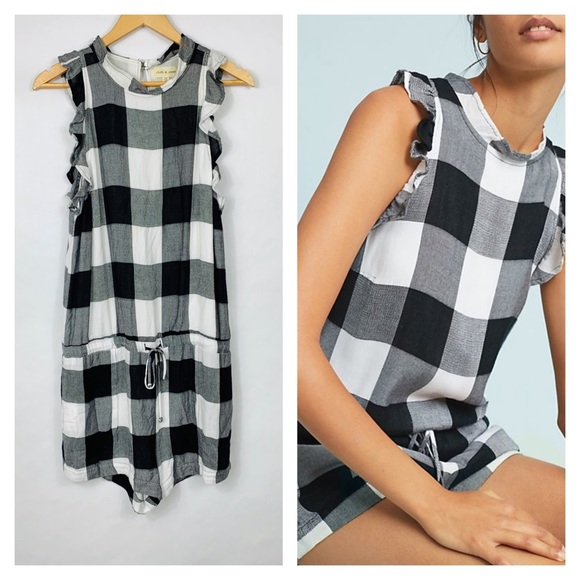 7502c4d00d8 Anthro Cloth   Stone Gingham Romper Ruffle